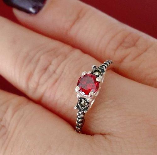 feminino prata anel solitário
