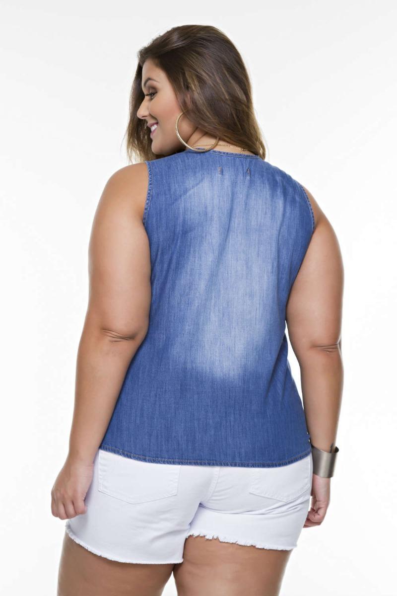 1ab5cc53e9 Blusa Jeans Feminino Regata Decotada Plus Size Grande - R  157