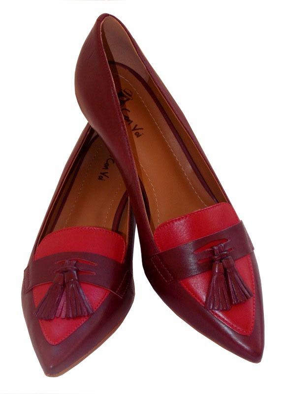 23a0f5cc99 feminino sapato scarpin salto baixo bico fino couro legitimo. Carregando  zoom.