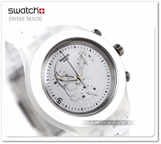 e3a9b3d8464 feminino swatch relógio · original relógio feminino swatch branco irony  skull caveira