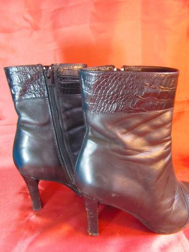 femme botas de vestir cuero negro marca mara 8cm  z02 03