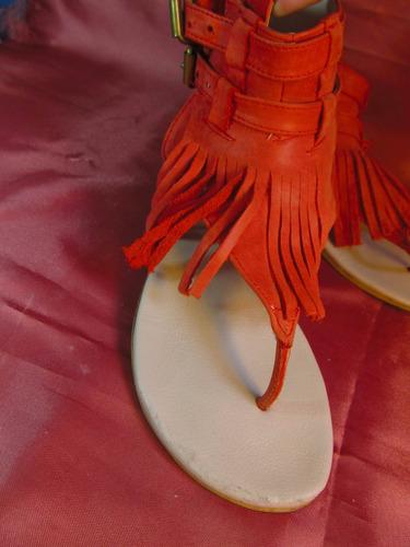 femme sandalias con flecos color coral new factory  z02 00