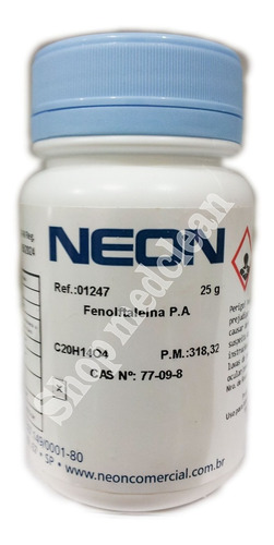 fenolftaleina pa 25 gramas pó puro c/ laudo de análise