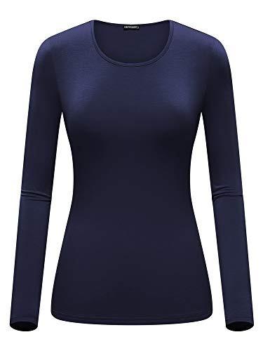fensace camisa de ropa interior suave con cuello redondo de