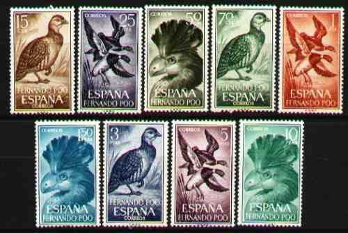 fernando poo 1964 - fauna - aves - 9 estampillas