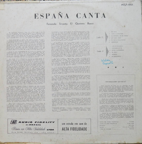 fernando sirvent & quinteto basco espanha canta - lp audio