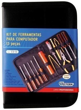 ferramentas para computador kit com 13 peças case com zíper