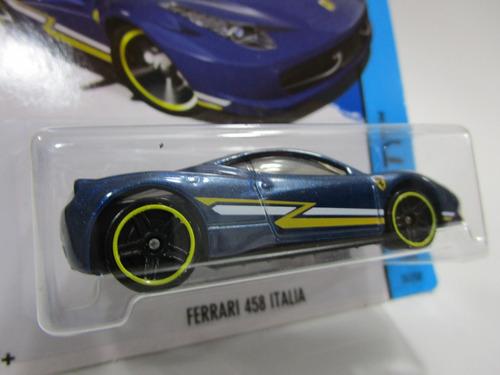 ferrari 458 italia azul escala 1/64 coleccion hot wheels