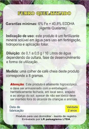 ferrilene ferro quelatado eddha cultivo hidropônico  30 g