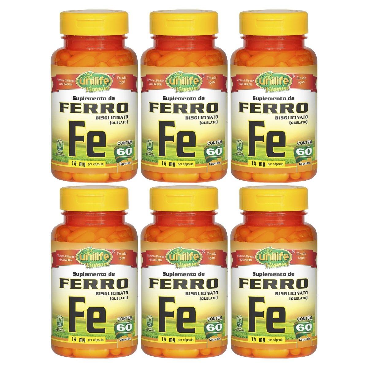 Ferro Quelato Fe 60 Cápsulas 500mg Unilife Kit 6 Unidades