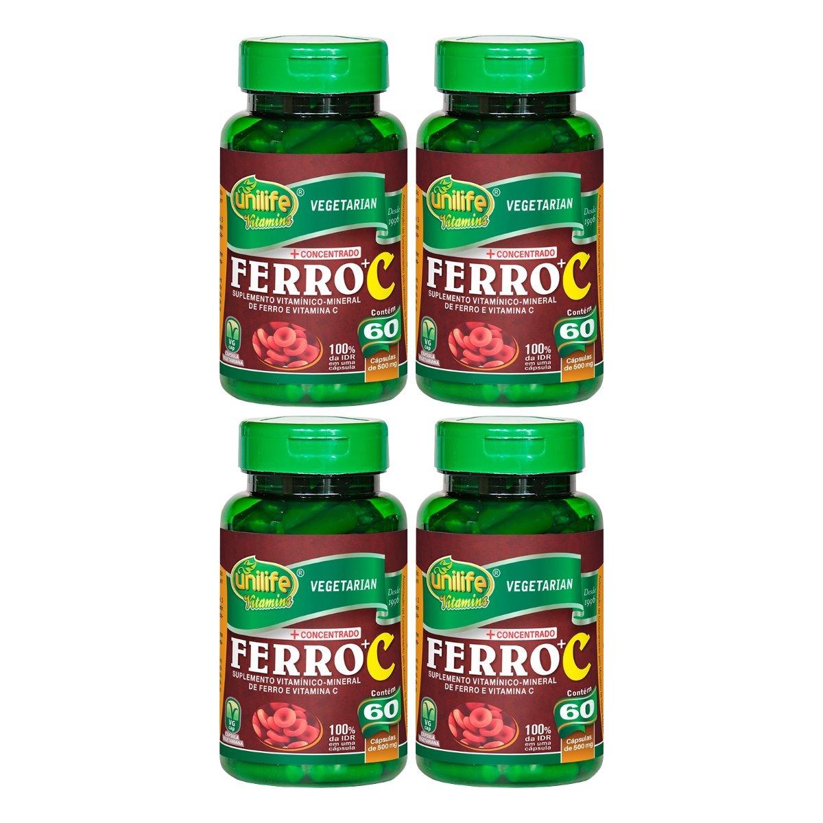 Ferro + Vitamina C 60 Cápsulas 500mg Unilife Kit 4 Unidades