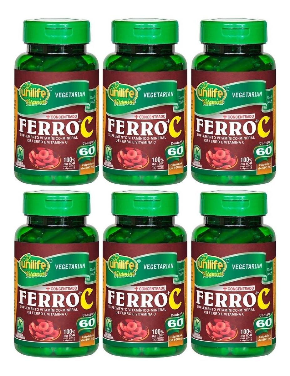 Ferro + Vitamina C 60 Cápsulas 500mg Unilife Kit 6 Unidades