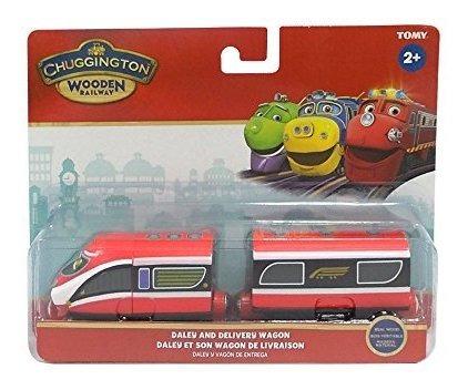 ferrocarril de madera chuggington daley y vagon de reparto