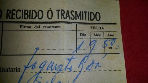 ferrocarril telegrama  de servicio central uruguay tren afe