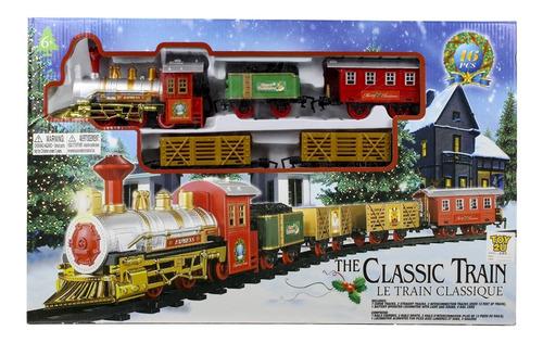 ferrorama feliz natal trem locomotiva classica com luz e som