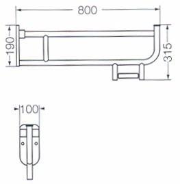 ferrum barral rebatible 80 cm con portarrollos y descarga
