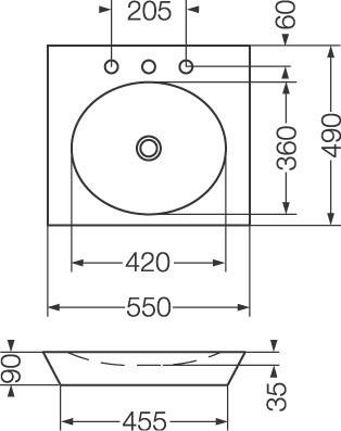 ferrum lavatorio trapecio (sin agujero) lwt0f