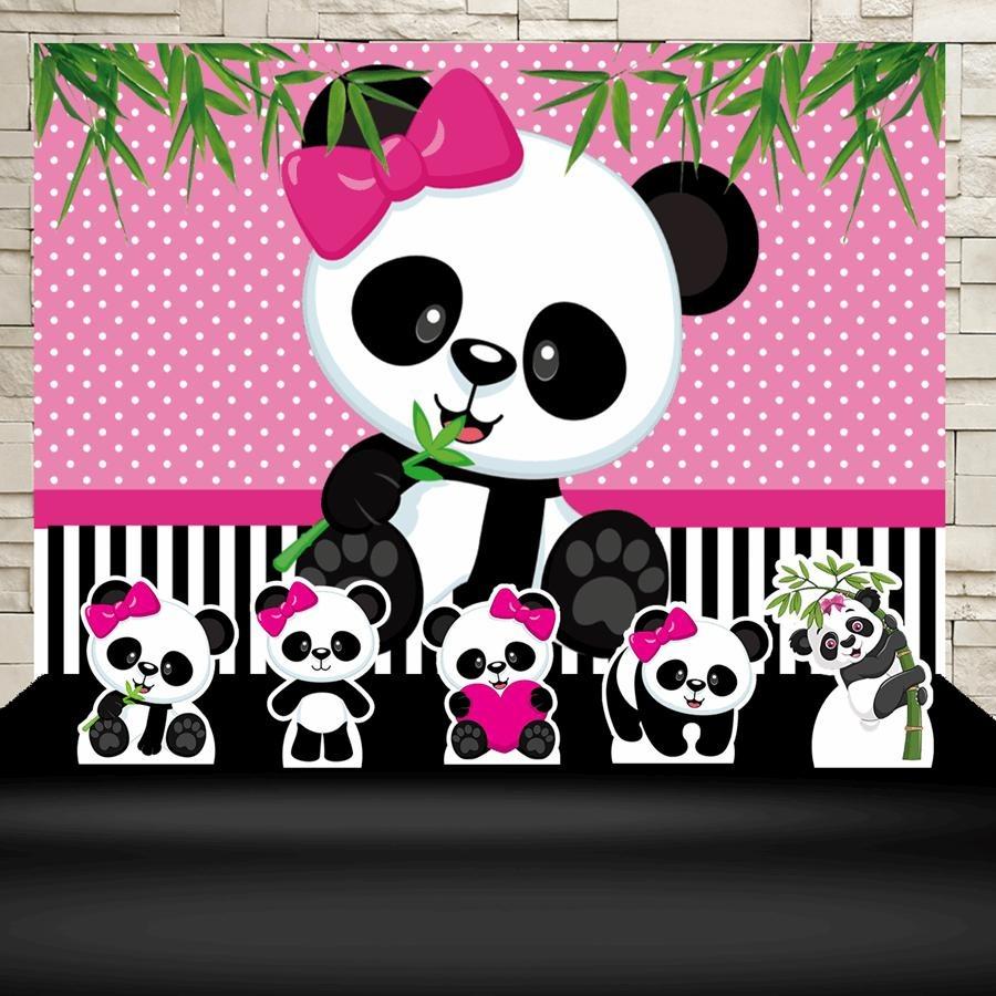 bfa82e01c festa aniversário panda rosa decoração kit prata. Carregando zoom.