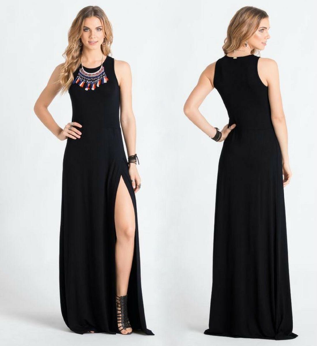 a206bcf14 Carregando zoom... vestido de festa moda evangélica plus size longo preto  lindo