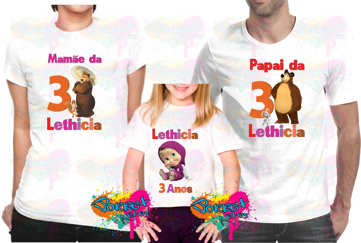 145ddfdd1 festa masha e o urso camisa personalizada kit 3 pçs. Carregando zoom.