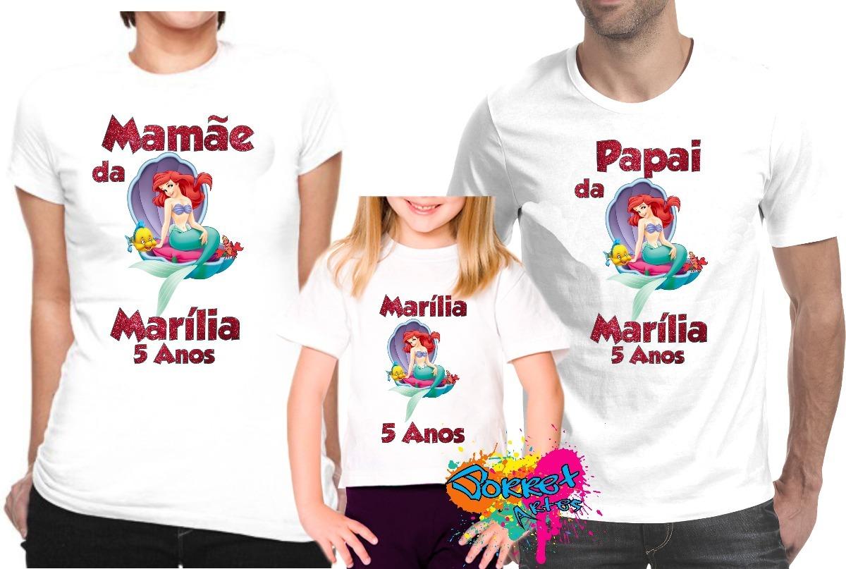28a6fd142 festa pequena sereia camisa personalizada nome kit 3 pçs. Carregando zoom.