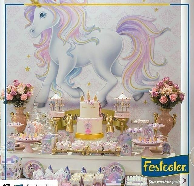 Festa Unicornio Dourado Completo Decoraç u00e3o Aniversario R$ 142,00 em Mercado Livre -> Decoração De Unicornio Para Festa