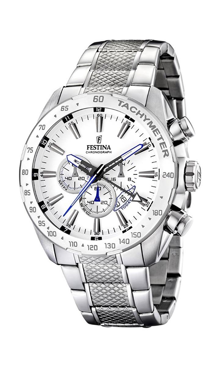 ef851d2b1bf5 festina hombres pulsera de acero inoxidable dial negro reloj. Cargando zoom.