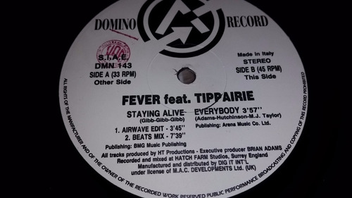 fever feat tippairie staying alive vinilo maxi italy 1995