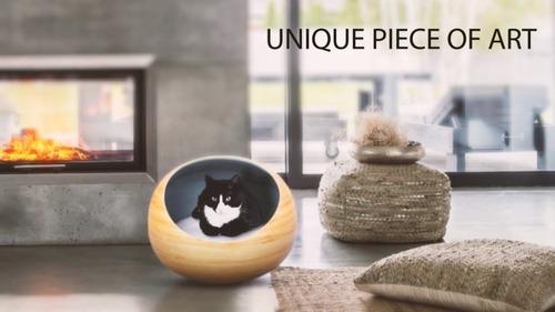 fhasso elegante igloo cat cueva cama de lujo bambu cat camas