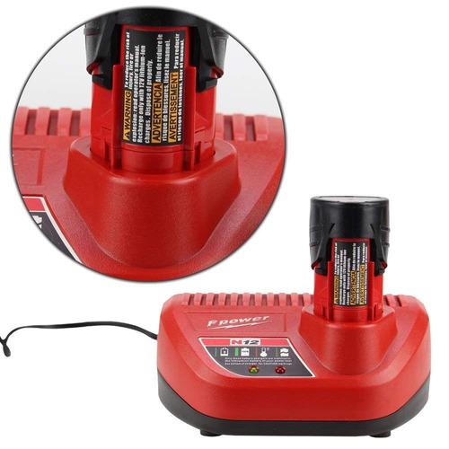 fhybat reemplazo para milwaukee m12 batería y cargador , 12