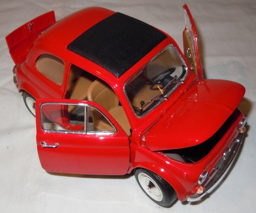 fiat 500 1965 burago 1/16 made in italy. belleza impecable!