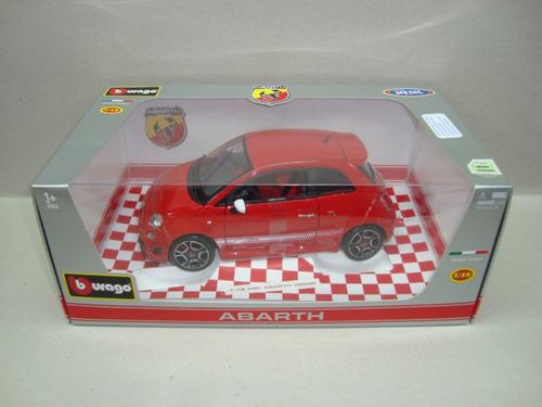 fiat 500 abarth 2008 - rojo - burago 1/18