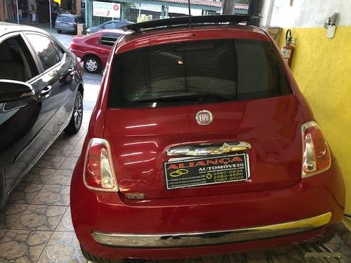 fiat 500 lounge air 1.4 16v, automático, 2012, vermelho