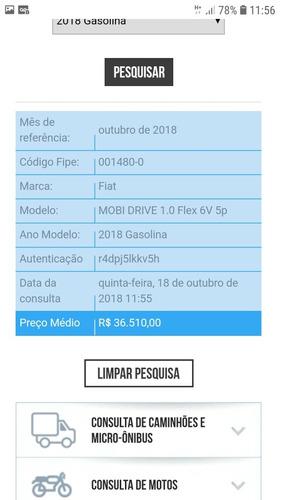 fiat mobi 1.0 drive flex 5p 2018 mec veiculo financiado