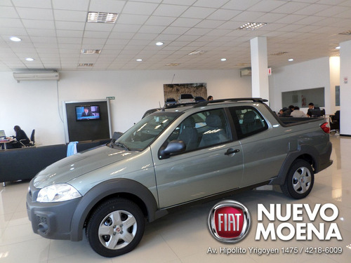fiat strada working c/doble 2017 gris / blanca