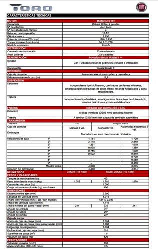 fiat toro 4x2 nafta  1.8 at 6 entrega inmediata okm 2020