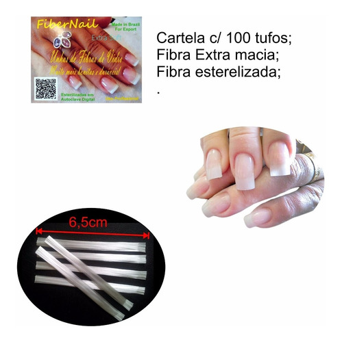 fibra de vidro fiber nail 100un p/ unhas de fibra