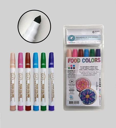 fibras marcador de tinta comestible food colors x 6