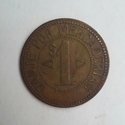 ficha bronce de $1 oficina salitrera porvenir y union