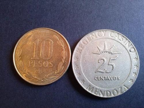 ficha casino mendoza 25 centavos niquel bronce (c 25)