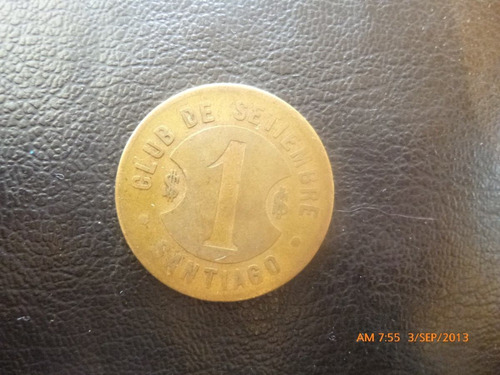 ficha club de septiembre santiago 1 peso bronce (5