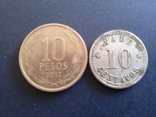 ficha de hacienda pasmayo 10 centavos 1892 níquel c1 classic