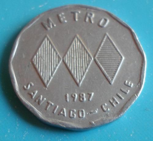 ficha metro santiago 1987   ( n c )