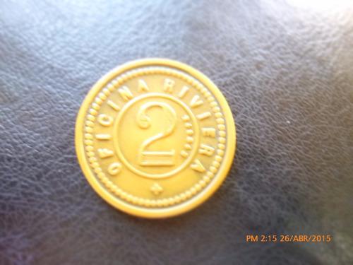 ficha salitrera 2 pesos oficina riviera - zanelli y sgagl(13