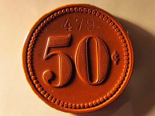 ficha salitrera 50c oficina ausonia ebonita roja 3,5 cms