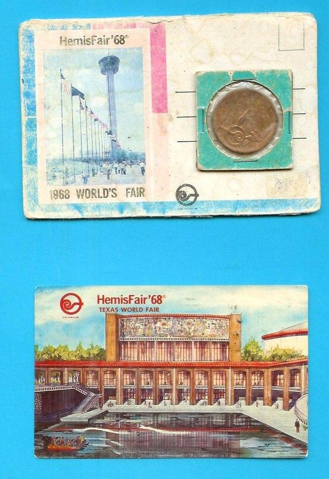 Ficha Y Postal Feria De 1968 En Sanantonio Texas 250