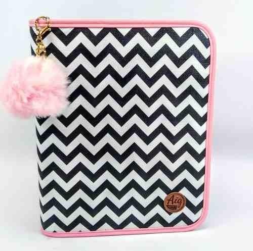 fichário feminino zíper zig zag rosa com bolso interno aig