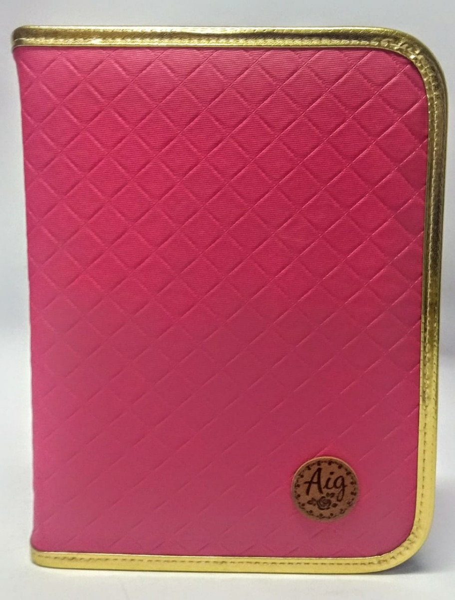 9d2b0a4c1 Fichário Pequeno 1/4 Escolar Matelasse Pink Luxo Novo Aig - R$ 78,00 ...