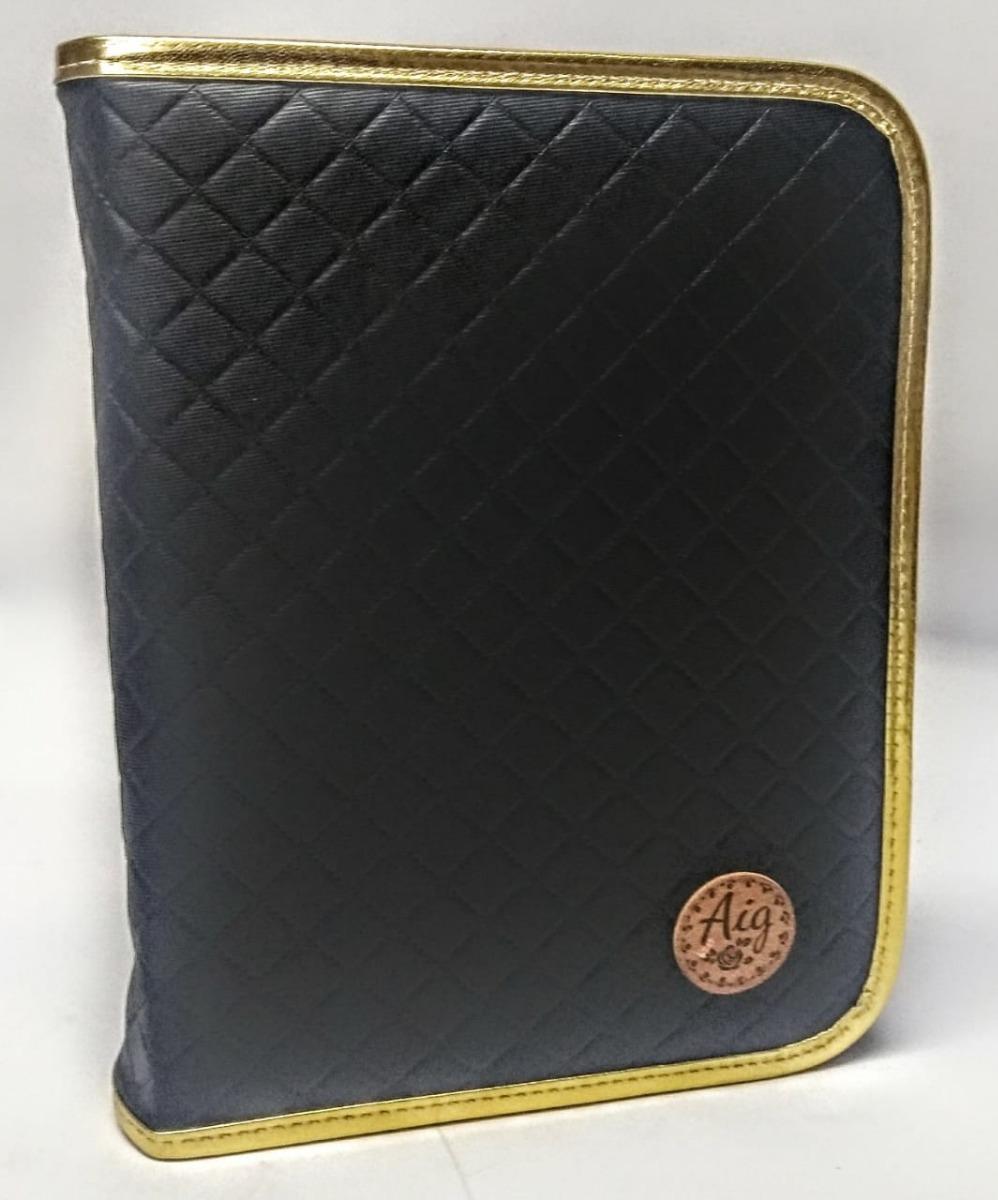 5a5843e55 Fichário Pequeno 1/4 Escolar Matelasse Preto Luxo Novo Aig - R$ 78 ...