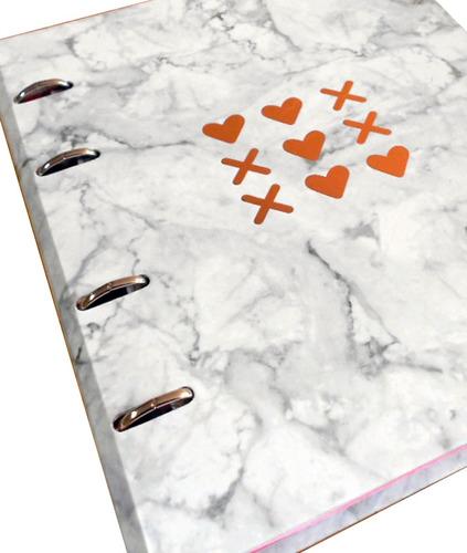 fichário stone mármore-10 mat- fech.imã- frete grátis